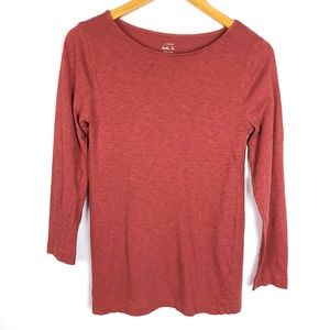 J Crew Dusty Red 3/4 Sleeve Painter Tee